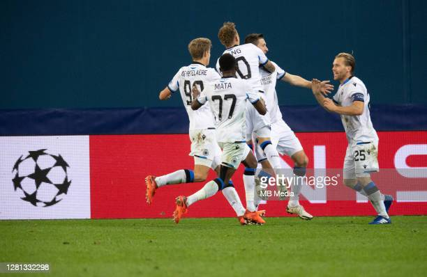 Club Brugge KV celebrate their goal during the UEFA Champions League Group F match between Zenit St Petersburg and Club Brugge KV at Gazprom Arena on...