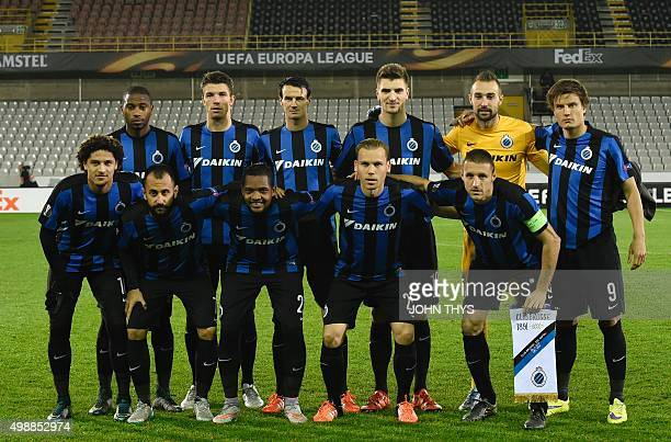 Club Brugge players pose for a team photo prior to the UEFA Europa League Group D football match between Club Brugge and SSC Napoli played behind...