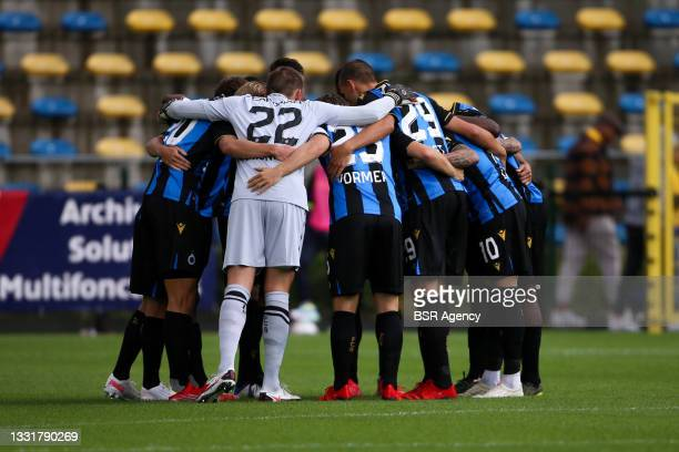 Club Brugge team during the Jupiler Pro League match between Union Saint Gilloise and Club Brugge at Joseph Marien Stadion on August 1, 2021 in...
