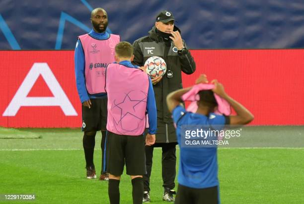 Club Brugge's Belgian coach Philippe Clement leads a training session of his team at the Saint Petersburg Stadium in Saint Petersburg on October 19...