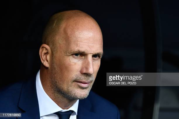 Club Brugge's Belgian coach Philippe Clement looks on before the UEFA Champions league Group A football match between Real Madrid and Club Brugge at...
