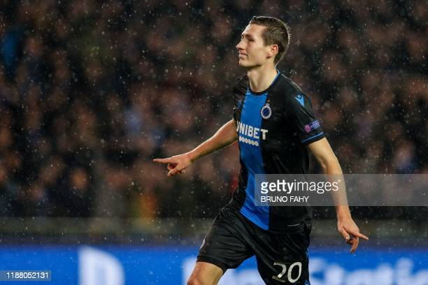 Club Brugge's Belgian midfielder Hans Vanaken celebrates after scoring during the UEFA Champions League Group A football match between Club Brugge...