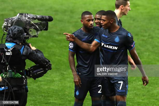 Club Brugge's Brazilian forward Wesley Moraes celebrates towards a television camera after scoring his team's third goal during the UEFA Champions...