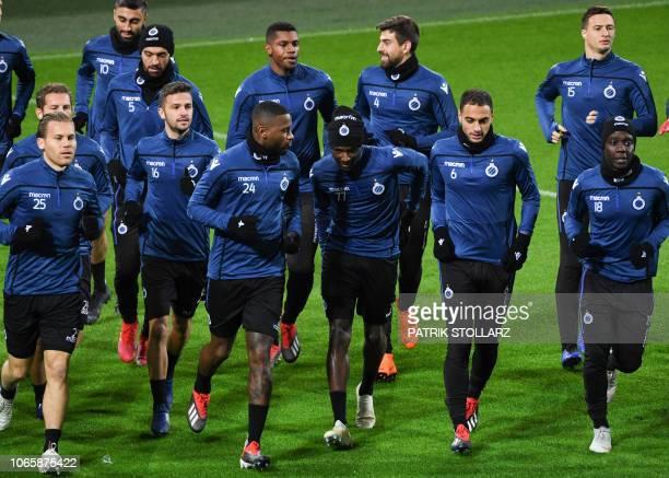 Club Brugge's Dutch midfielder Ruud Vormer Belgian forward Siebe Schrijvers Dutch defender Stefano Denswil Angolan defender Clinton Mata Moroccan...