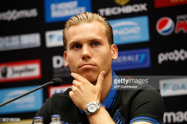 Club Brugge's Dutch midfielder Ruud Vormer ponders during a press conference on July 25 2017 in Brugge on the eve of the club's Champions League...