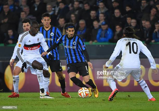 Club Brugge's forward from Israel Lior Rafaelov drives the ball during the UEFA Europa League round of 16 match between Club Brugge KV and Besiktas...