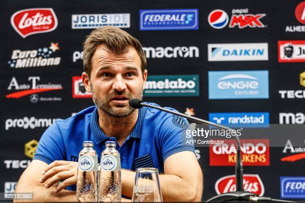 Club Brugge's head coach Ivan Leko speaks during a press conference on July 25 2017 in Brugge on the eve of the club's Champions League third...