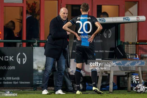Club Brugge's head coach Philippe Clement and Club's Hans Vanaken pictured during a soccer match between KV Kortrijk and Club Brugge KV, Sunday 26...