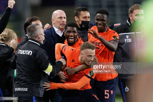 Club Brugge's Noa Lang celebrates after scoring his team's third goal during the Belgian championship football match Club Brugge KV and RSC...