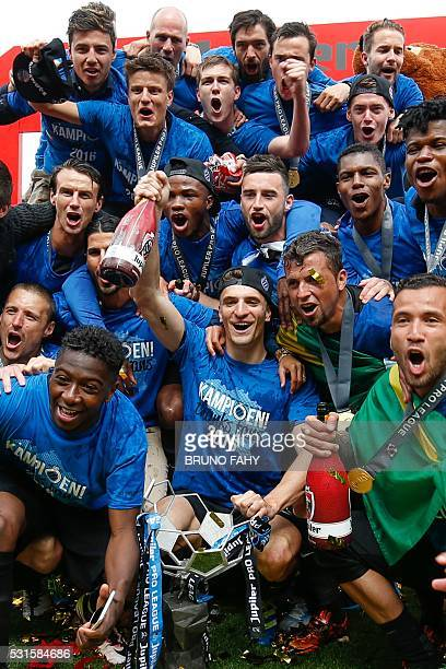 Club Brugge's players celebrate after winning for the first time in 11 years the Belgian soccer championship Jupiler Pro League match between Club...