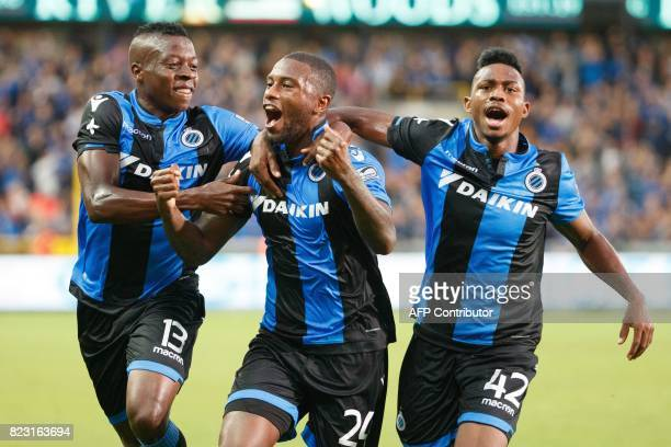 Club Brugge's Stefano Denswil celebrates with teammates after scoring a goal during the first leg of the third qualifying round for the UEFA...
