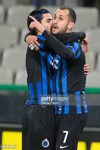 Club Brugge's Victor Vazquez Solsona celebrates with a teammate after he scored the 10 goal during a football match between Belgian team Club Brugge...