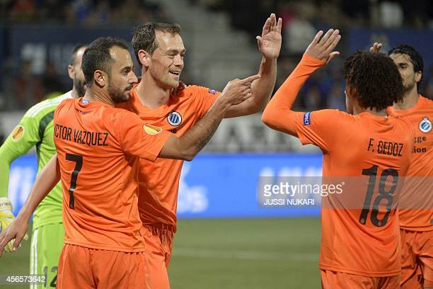 Club Brugge's Victor Vazquez , Tom De Sutter and Felipe Gedoz celebrate the team's second goal during the UEFA Europa League group B football match...