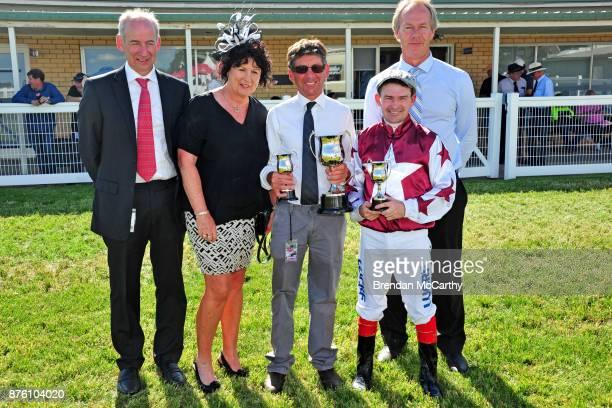 Club Chairman Graeme Leishman, race sponsor Debbie Michael, Darren Weir's race day representative Darryn Murphy, Dean Yendall and sponsor Terry...