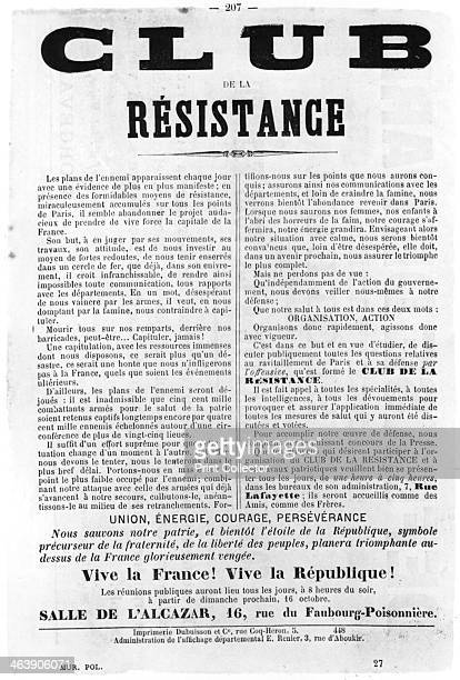 Club de la Resistance from French Political posters of the Paris Commune May 1871