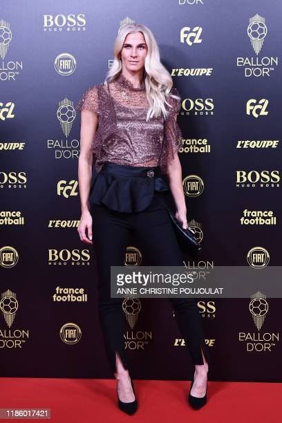 Club Deportivo Tacon Sweden's forward Sofia Jakobsson arrives to attend the Ballon d'Or France Football 2019 ceremony at the Chatelet Theatre in...
