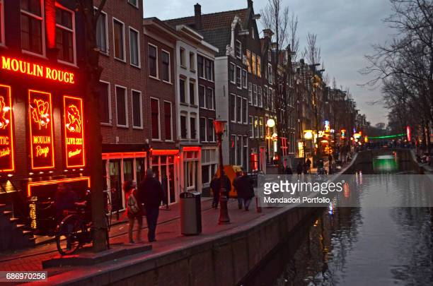A club facong the canals of Red Light District the sex industry district in Amsterdam Amsterdam 7th December 2016