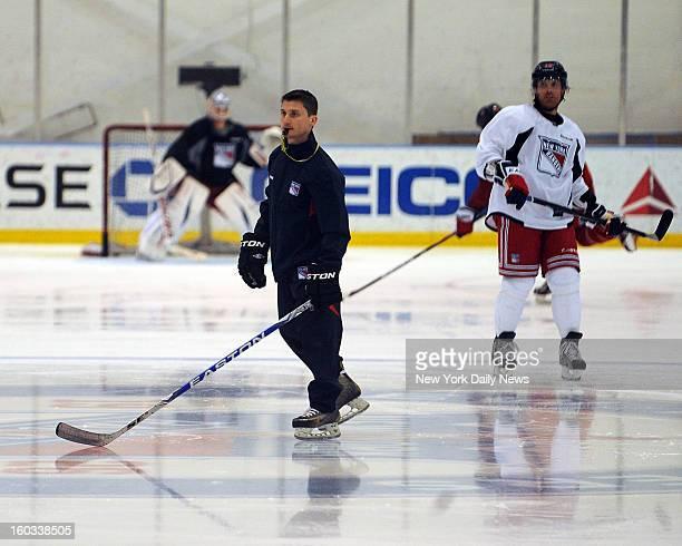 NYU club hockey coach Chris Cosentino prepares New York Rangers for training camp at practice facility in Greenburgh New York