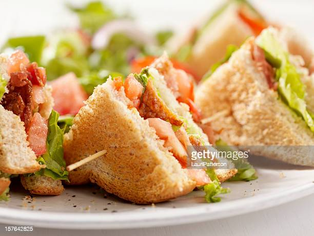 BLT Club House Sandwich with French Fries