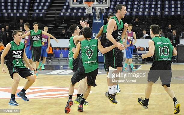 Club Joventut Badalona players celebrate on court after winning the Nike International Junior Tournament Final game against FC Barcelona Regal at O2...