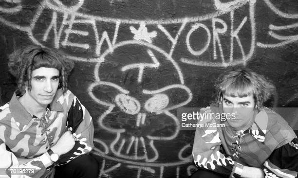 Club Kids the It Twins pose for a portrait on a rooftop in the East Village in May 1991 in New York City, New York.