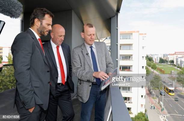 Club legend Gary McAllister and former Liverpool FC player Patrick Berger take a guided tour by Axel Klausmeier director of the Berlin Wall...