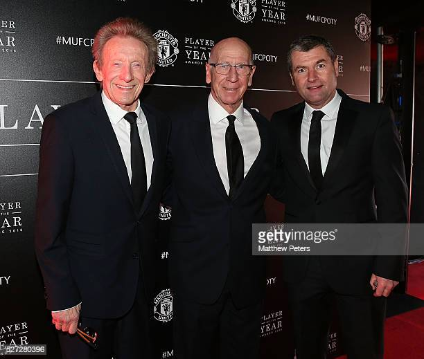Club legends Denis Law Sir Bobby Charlton and Denis Irwin of Manchester United arrive at the club's annual Player of the Year awards at Old Trafford...