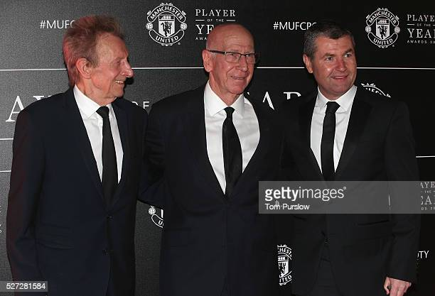 Club legends Denis Law, Sir Bobby Charlton and Denis Irwin of Manchester United arrive at the club's annual Player of the Year awards at Old Trafford...