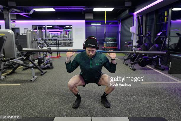 Club member Josh Chambers returns to the gym at the St Michael's Health Club shortly after 6am on April 12, 2021 in Falmouth, England. England has...