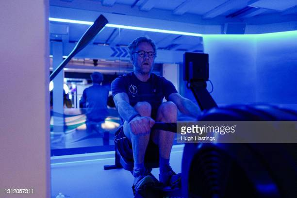 Club member Richard Money-Kyrle returns to the gym at the St Michael's Health Club shortly after 6am on April 12, 2021 in Falmouth, England. England...
