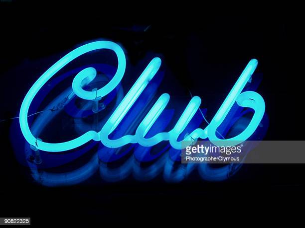club neon sign - neon letters stock photos and pictures