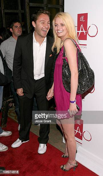 Club owner Jason Strauss and actress and model Lydia Hearst arrive at the Tao Las Vegas 2nd Anniversary Weekend party at Tao Nightclub on November 10...