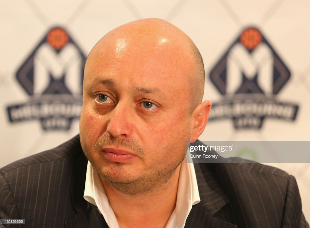 Club owner Larry Kestelman speaks during the Melbourne United NBL press conference at Melbourne United Head Office on May 20, 2014 in Melbourne, Australia.