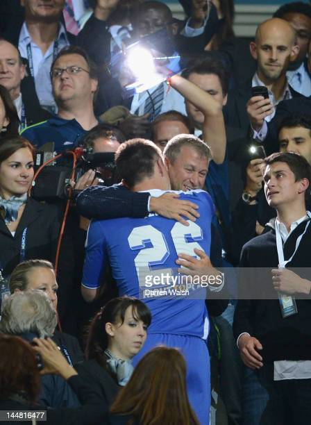 Club owner Roman Abramovich celebrates with John Terry after their victory in the UEFA Champions League Final between FC Bayern Muenchen and Chelsea...