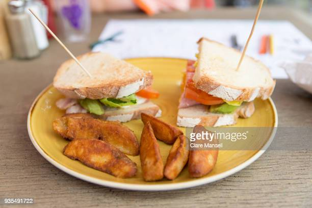 club sandwich and chips - club sandwich stock pictures, royalty-free photos & images