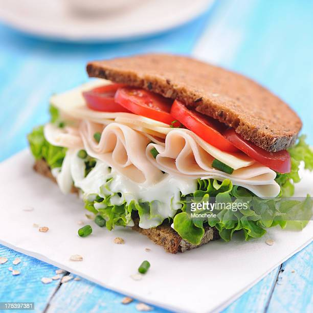 club sandwich with chicken ham and whole wheat bread - club sandwich stock pictures, royalty-free photos & images