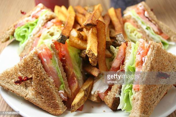 blt club sandwich with french fries - club sandwich stock pictures, royalty-free photos & images