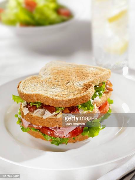 club sandwich with garden salad - club sandwich stock pictures, royalty-free photos & images