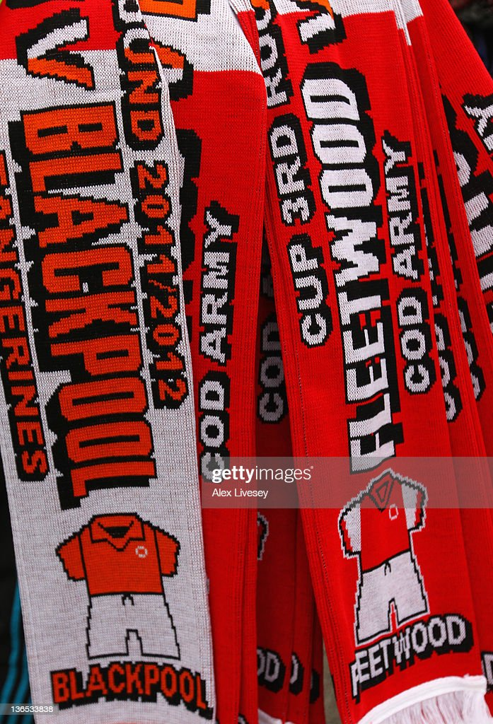 Club scarves of Fleetwood Town and Blackpool are seen prior to the FA Cup sponsored by Budweiser third round match between Fleetwood Town and Blackpool at Highbury Stadium on January 7, 2012 in Fleetwood, England.