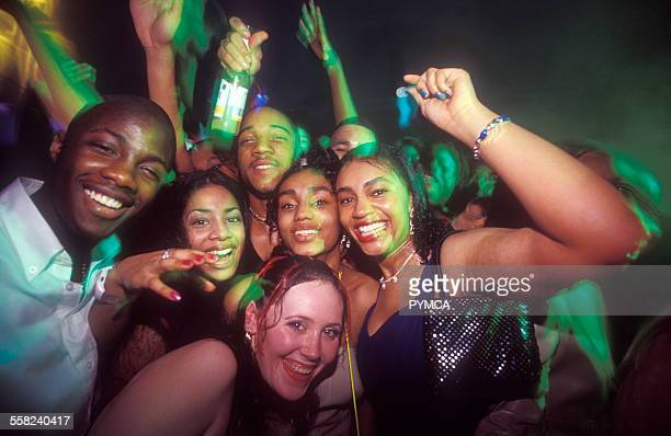 Clubbers at R n B night The Lick Party Ministry of Sound UK 1990s