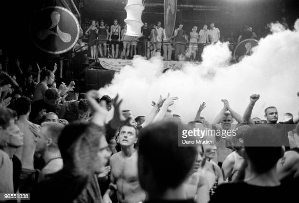 Clubbers at the Manumission party held at the Privilege night club in Ibiza Spain on July 19 1999 Manumission is Ibiza's biggest party and is held...