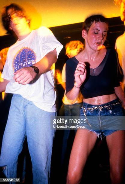 Clubbers on the main stage at the Temperence night in the Hacienda Manchester 1989