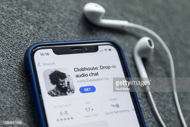 Clubhouse Drop-in audio chat app logo on the App Store is seen displayed on a phone screen in this illustration photo taken in Poland on February 3,...