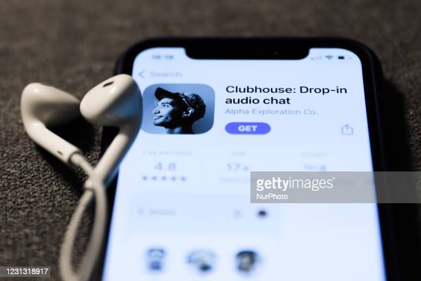 Clubhouse Drop-in audio chat app logo on the App Store is seen displayed on a phone screen in this illustration photo taken in Poland on February 21,...
