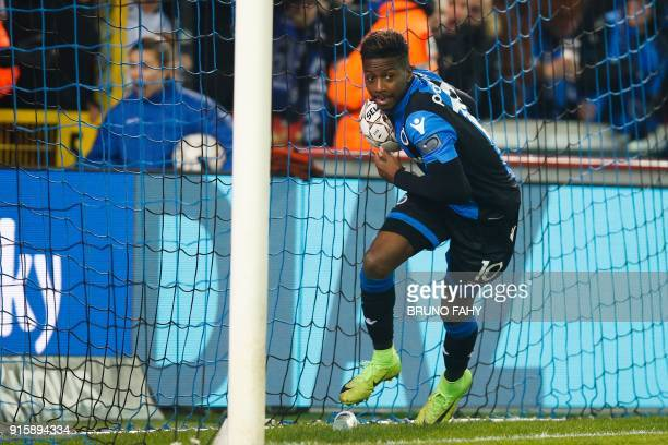 Club's Abdoulay Diaby celebrates after scoring the 21 goal during a Club Brugge KV and Standard de Liege football match the return leg of the Croky...