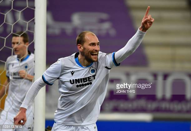 Club's Bas Dost celebrates after scoring during a soccer match between Club Brugge KV and KAA Gent, Monday 15 March 2021 in Brugge, a postponed match...