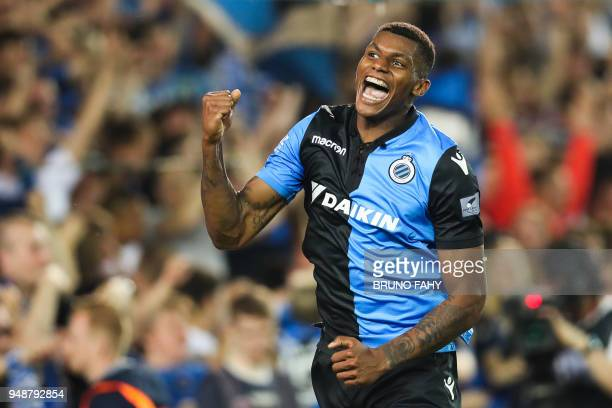 Club's Brazilian forward Wesley celebrates after scoring during the Jupiler Pro League play off match between Club Brugge and Sporting Charleroi on...