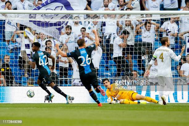 Club's Emmanuel Bonaventure Dennis scores the 0-1 goal and Real's goalkeeper Thibaut Courtois can not stop it at a game between Belgian soccer team...