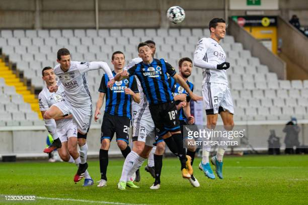 Club's Federico Ricca and Eupen's Nils Schouterden fight for the ball during a soccer match between Club Brugge KV and KAS Eupen, Saturday 26...