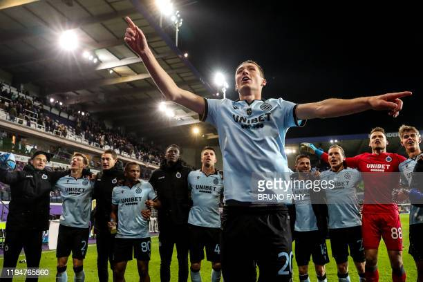 Club's Hans Vanaken and his teammates celebrate after winning a soccer match between RSC Anderlecht and Club Brugge Sunday 19 January 2020 in...
